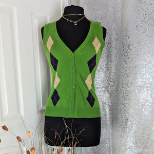 NY & Co Green Vest Sz XS